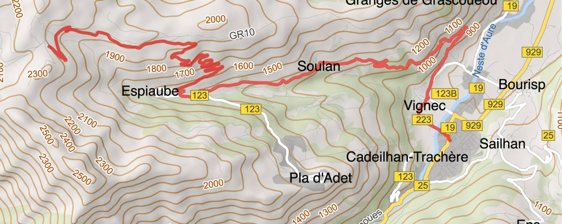 Map of the Col du Portet itinerary