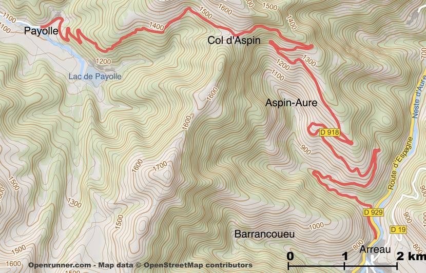 Map of the route of the Col d'Aspin