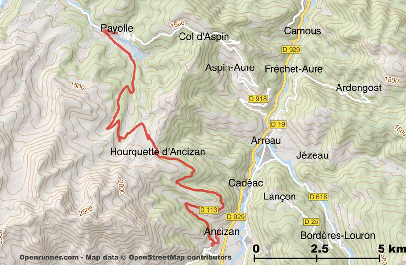 Map of the road of the Hourquette d'Ancizan