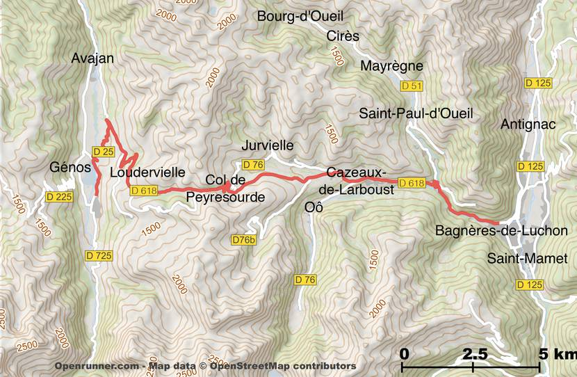 Plan of the route of the Col de Peyresourde