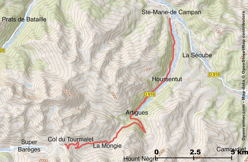 Map of the road of Col du Tourmalet