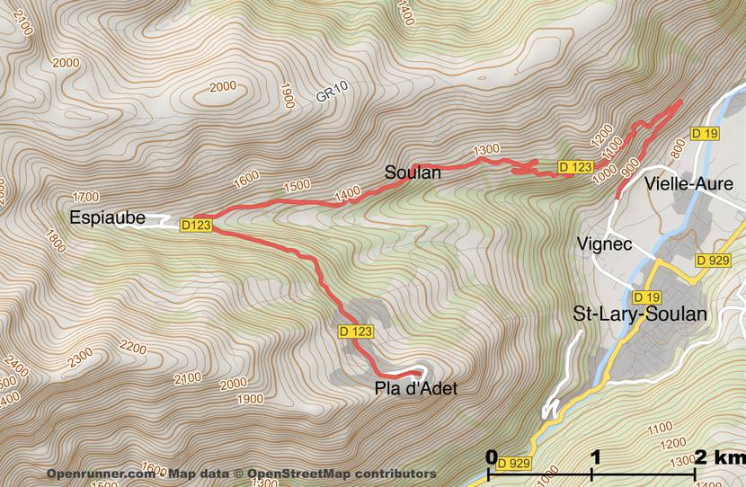 Map of the road of the Pla d'Adet