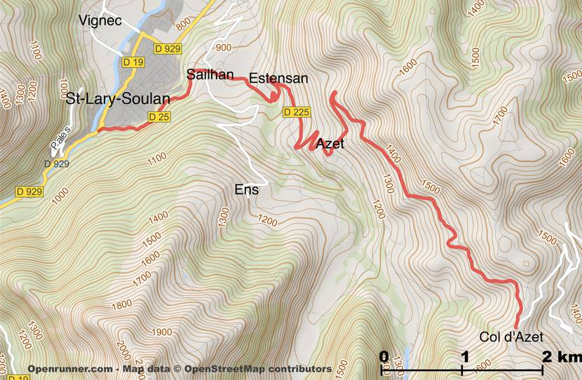 Plan of the route of the Col d'Azet from Saint-Lary