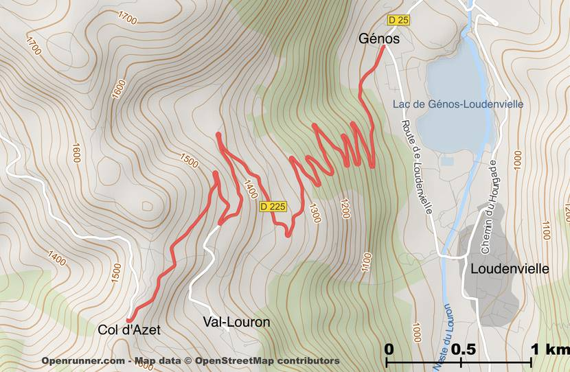 Map of the road of the Col d'Azet from Génos