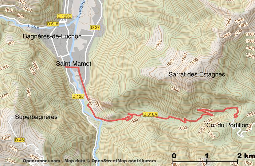 Col du Portillon itinerary map