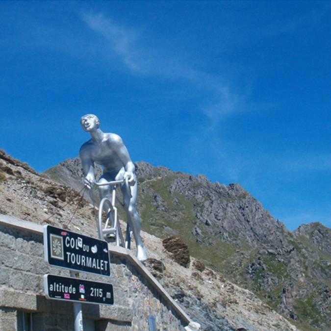 Discover the giant, statue at the top of the Tourmalet pass